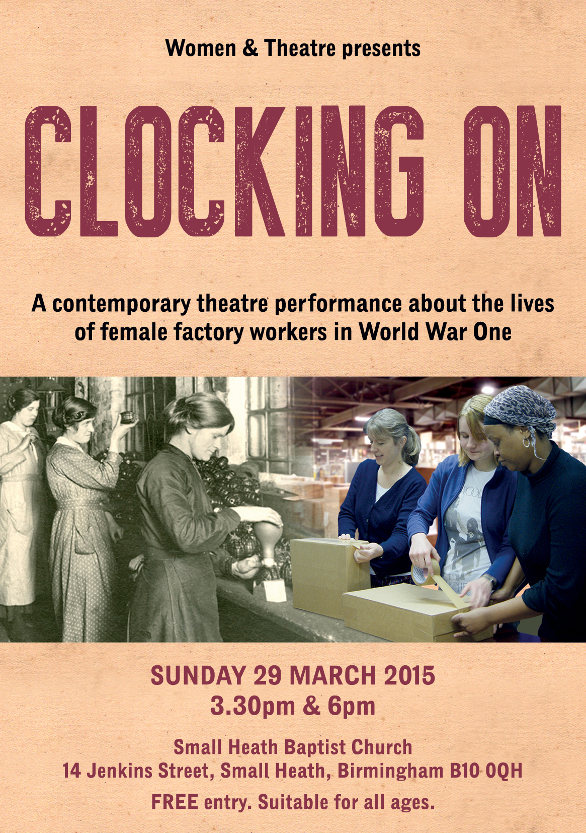 Women & Theatre Clocking On Leaflet Front